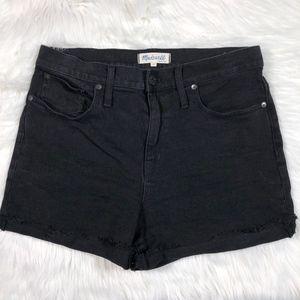 MADEWELL High Waisted BLACK Denim Cut Off Shorts
